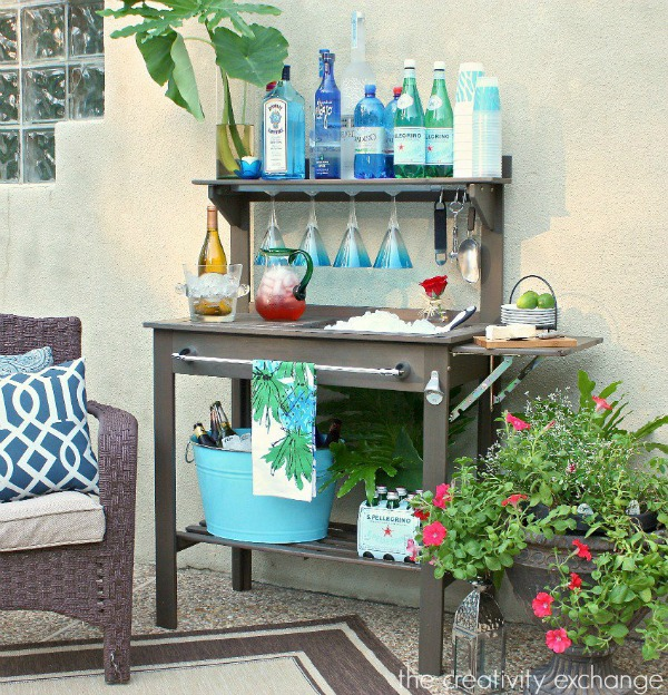 Inexpensive potting bench turned into an outdoor bar and beverage station for entertaining - The Creativity Exchange