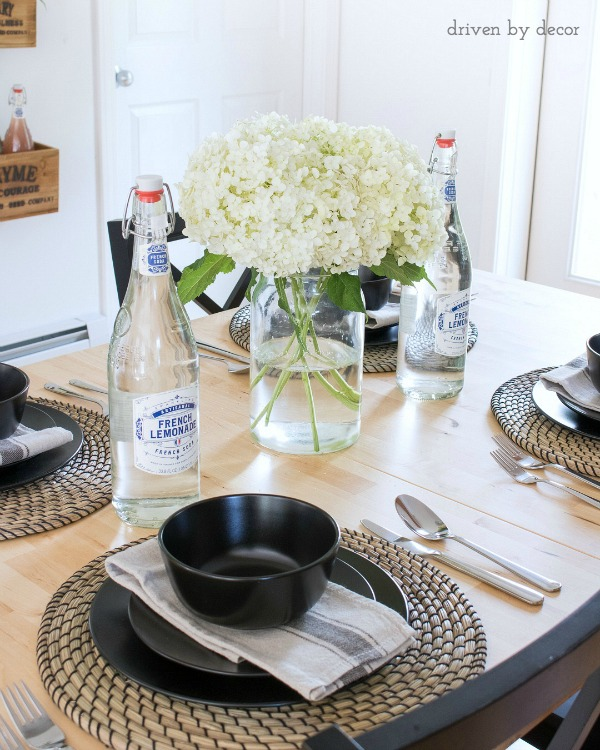Simple, inexpensive IKEA placesettings with woven chargers