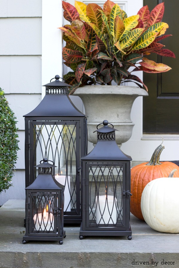 A trio of lanterns make beautiful front porch decorations