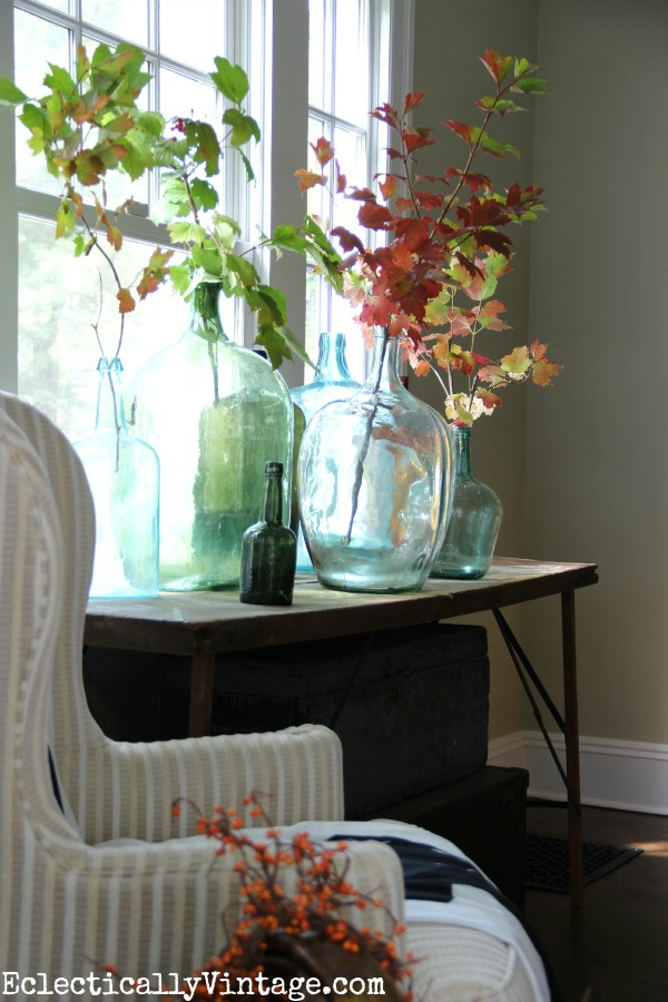 Decorating for fall with vintage demijohns - Eclectically Vintage