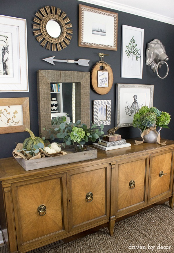Eclectic home office gallery wall with hydrangeas and pumpkins for fall