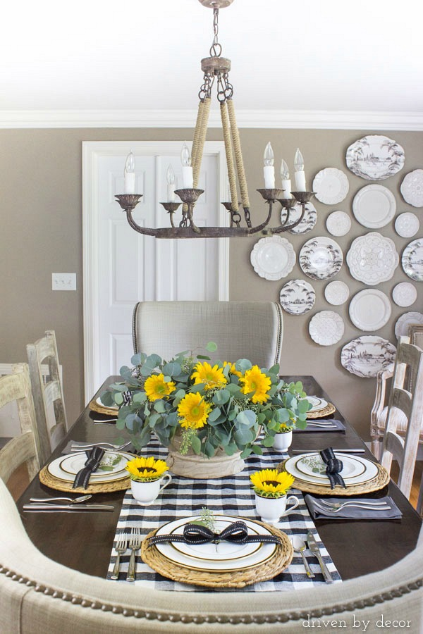 Fall dining room tablescape with sunflowers
