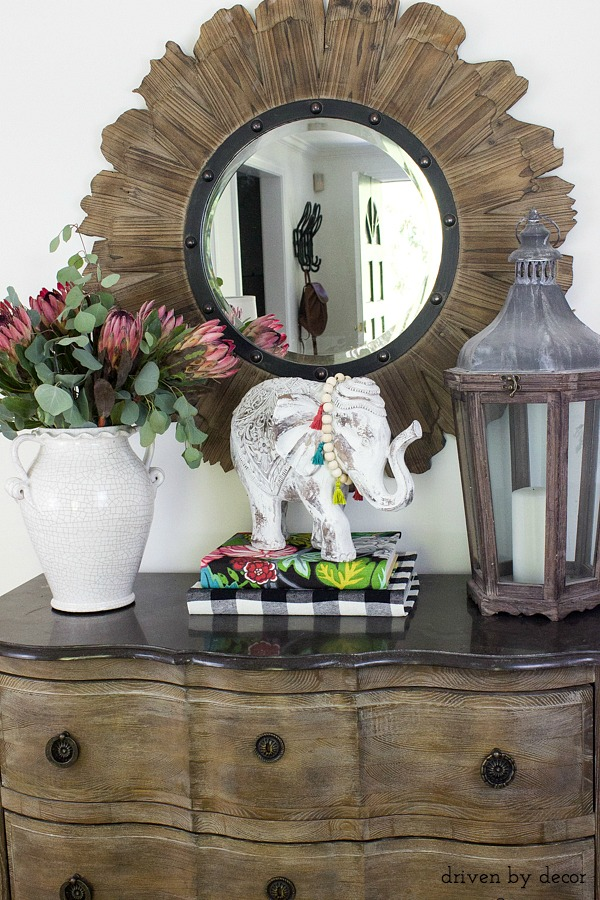 Foyer console decorated for fall