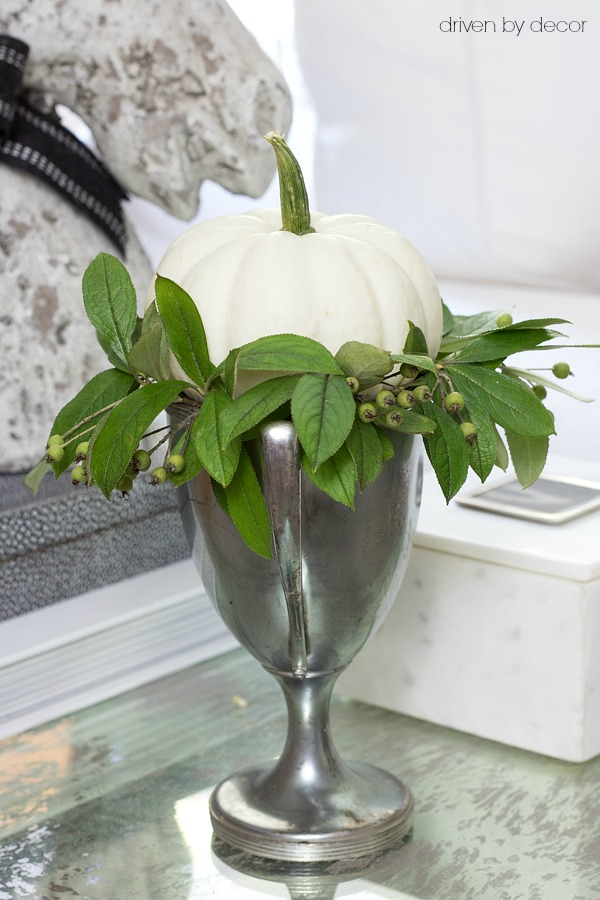 A trophy cup filled with greenery and a baby boo pumpkin for fall