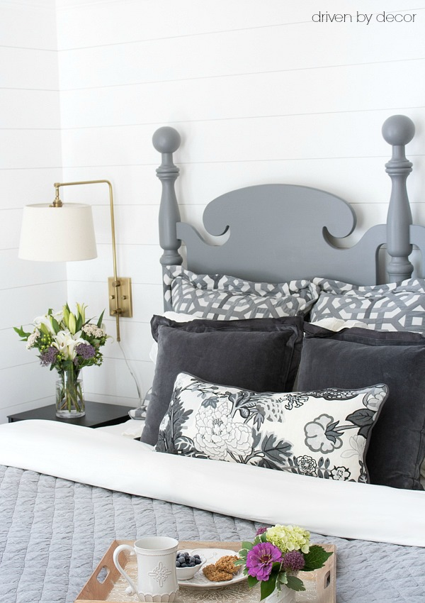 Bedding in grays with an interesting mix of textures and patterns