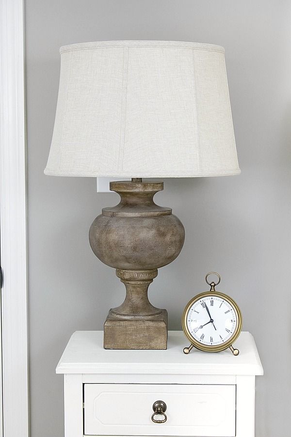 Bedside wood lamp and brass alarm clock