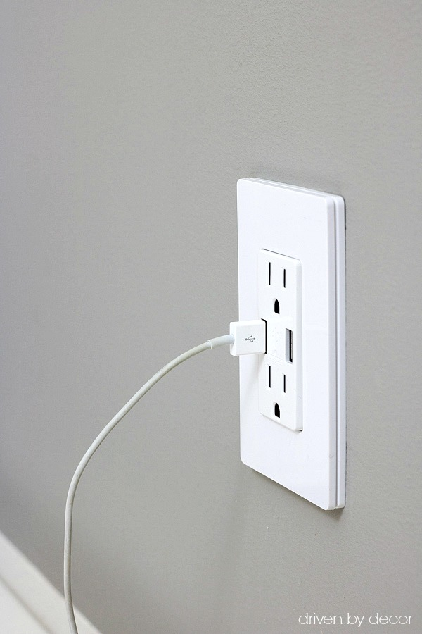 Combined USB port and regular outlet - genius! Post includes link to buy!