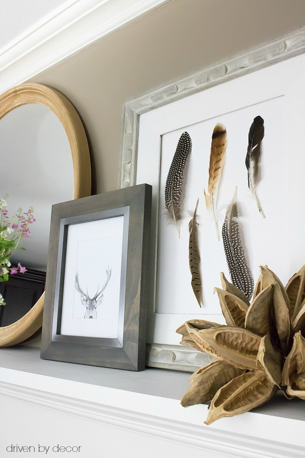 Create your own DIY feather art - perfect for fall! Post includes other simple DIY art ideas too!