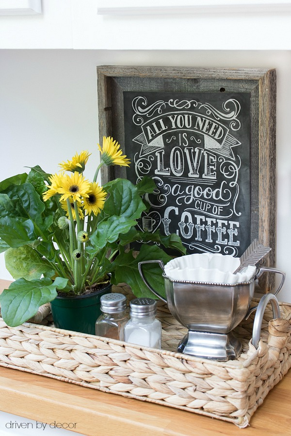 Create your own coffee station by using a basket for your filters, scoop, and other accessories