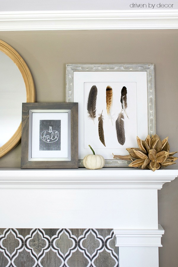 DIY art on fireplace mantel - feather art and fall printable