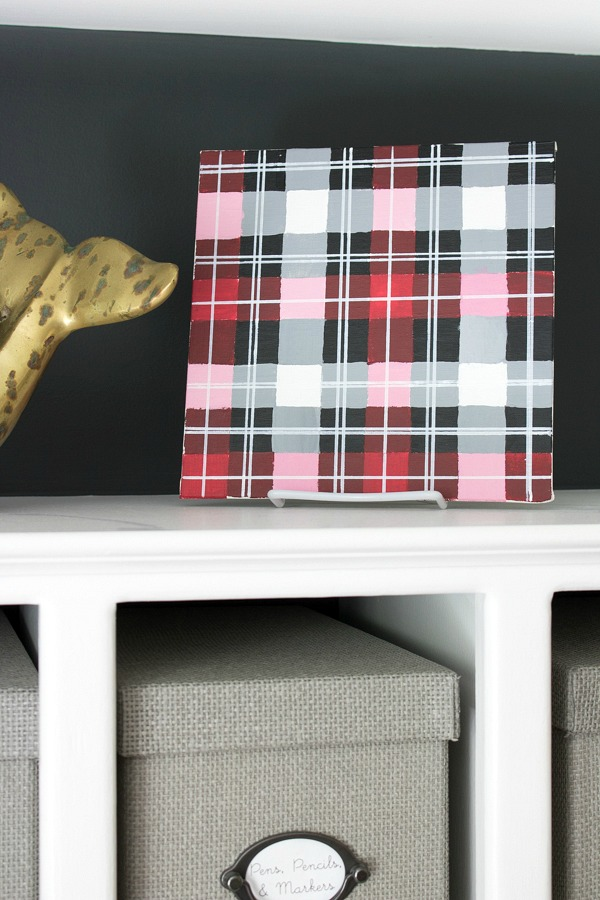 DIY plaid art made with painters tape, paint, and paint pens