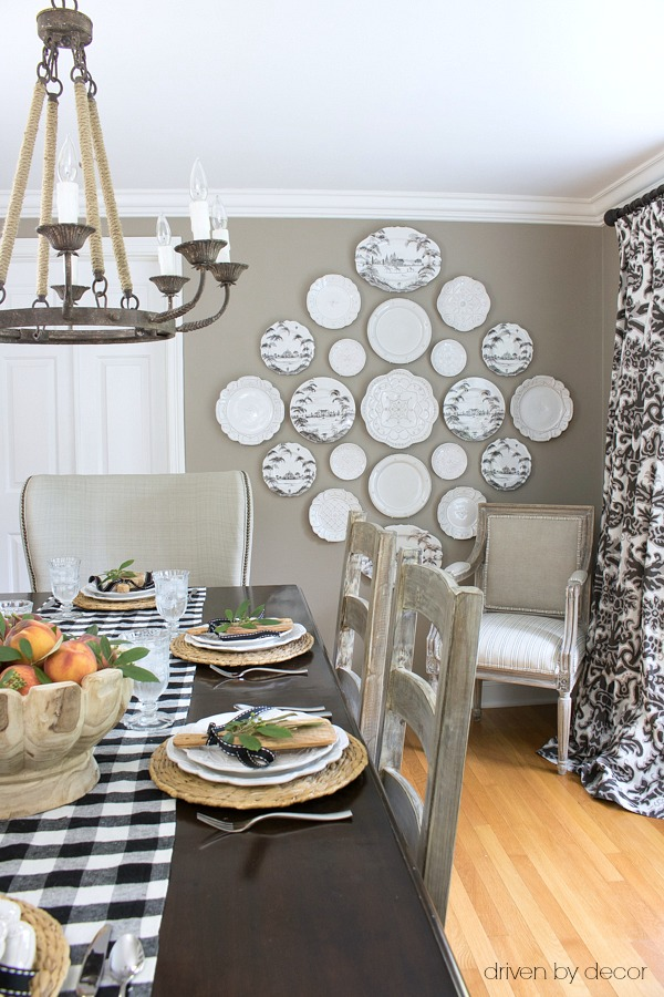 Dining room plate wall - part of full fall house tour