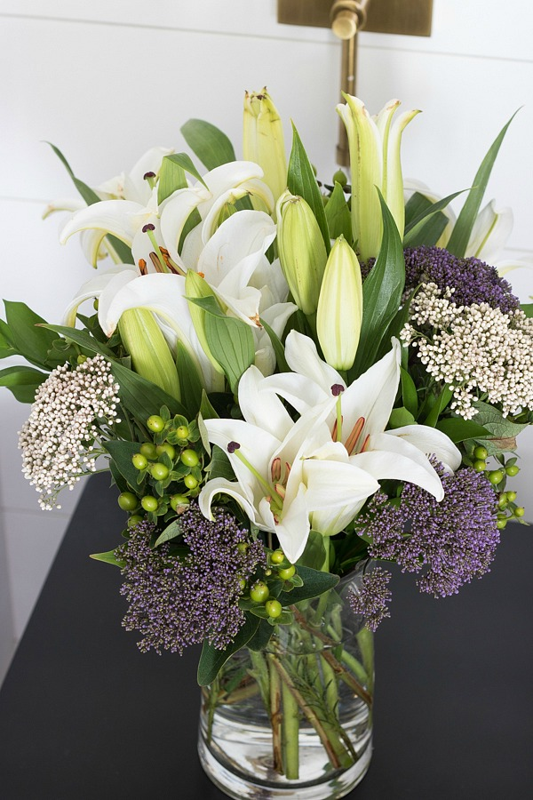 Fall bedside flower bouquet with lillies
