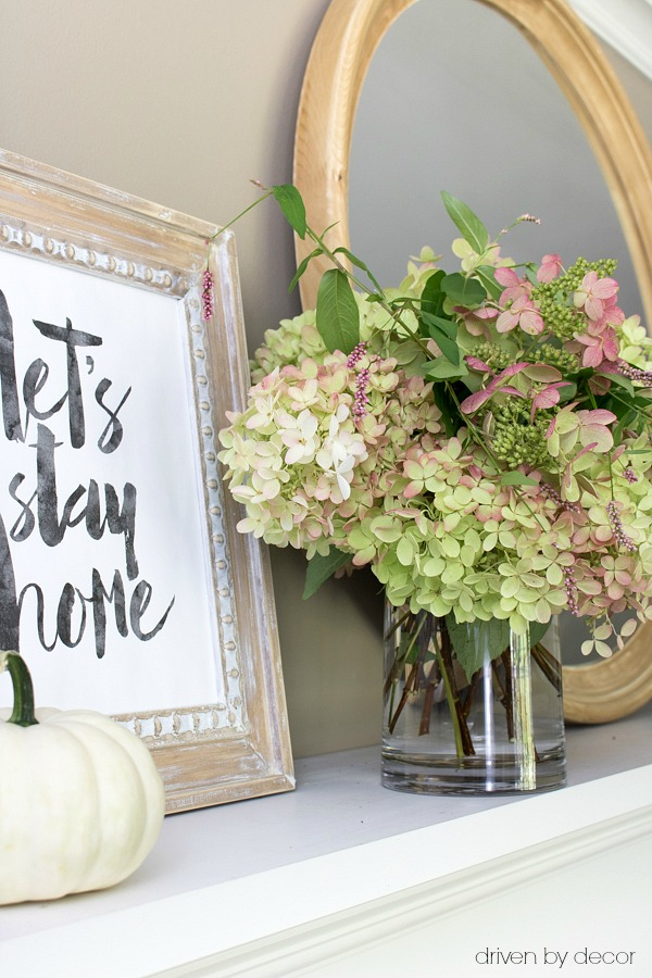 Fall hydrangeas and printable - Let's Stay Home art - for a fall mantel
