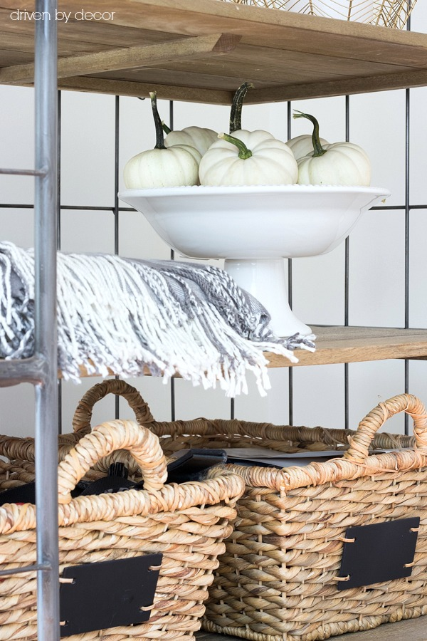 Fall touches added to our kitchen bakers rack