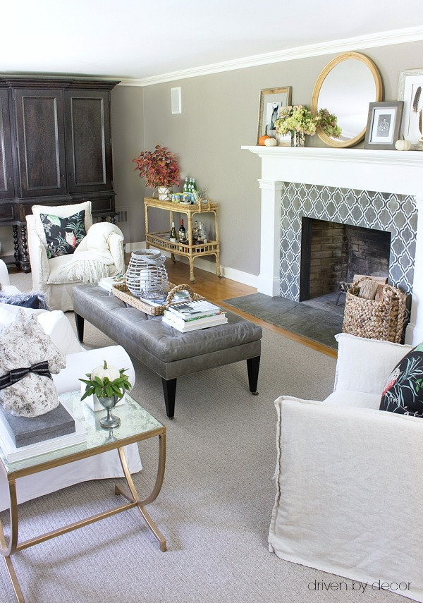 Family room in neutrals decorated for fall - part of a full fall home tour