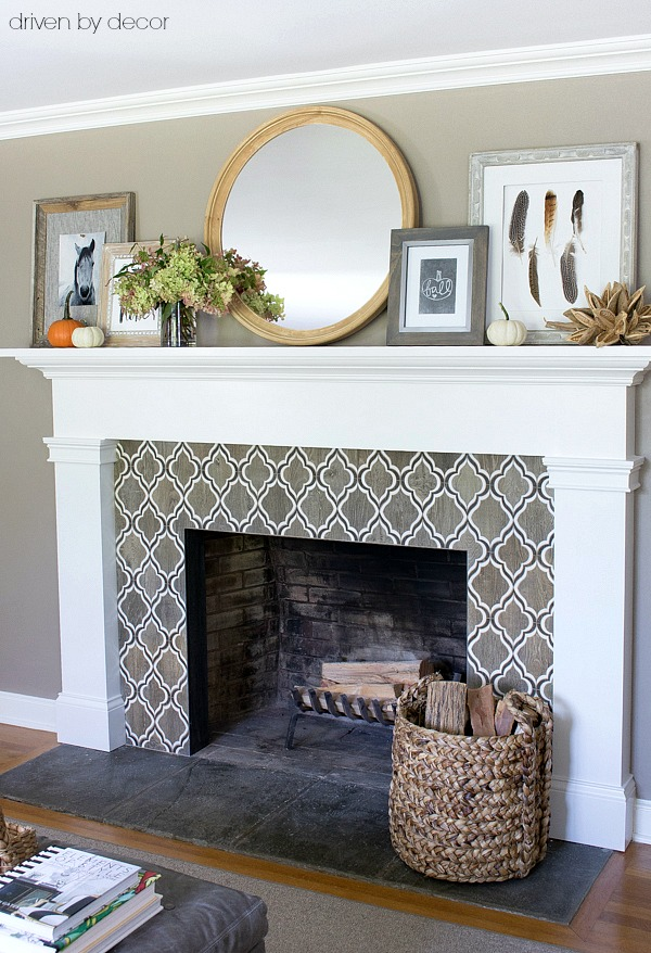 Fireplace mantel decorated for fall - part of full fall home tour by Driven by Decor