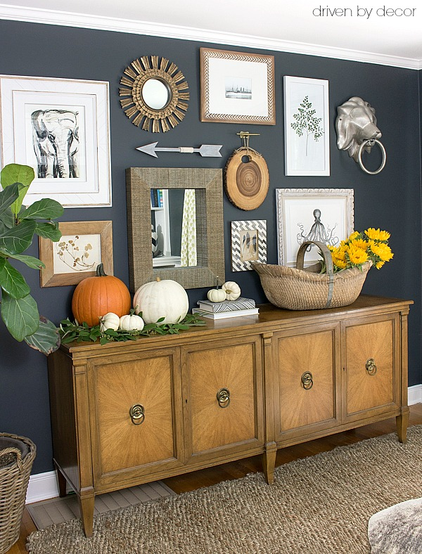 Gallery wall with console decorated for fall - part of a full fall house tour