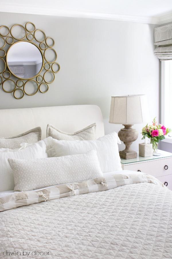 Guest room in textured neutrals