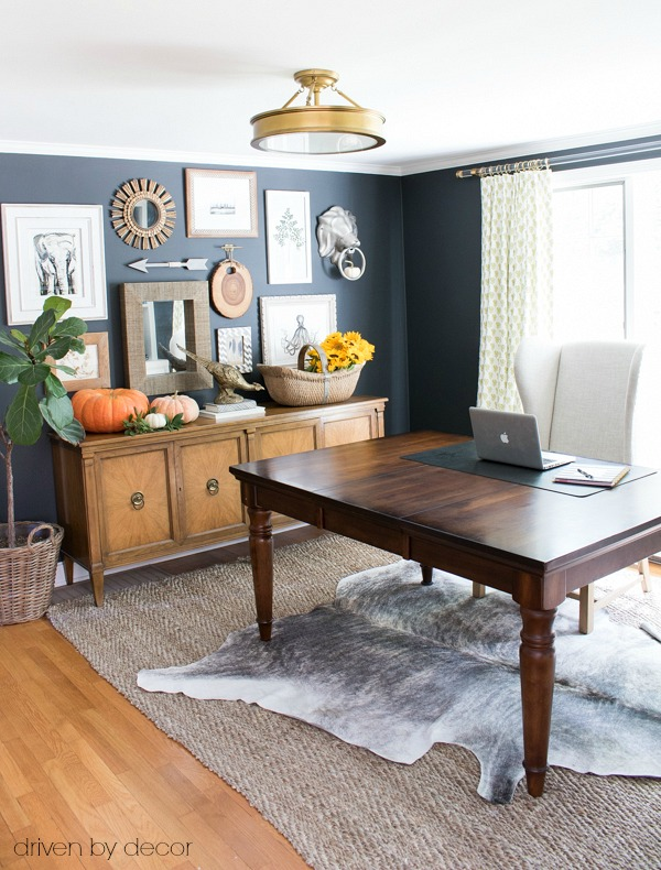 Home office decorated for fall