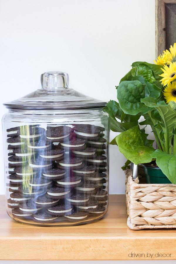 Karadashian cookie jar with stacked Oreos