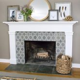 Mantel with layered art including DIY feather art. Post includes ideas for other easy DIY art too!