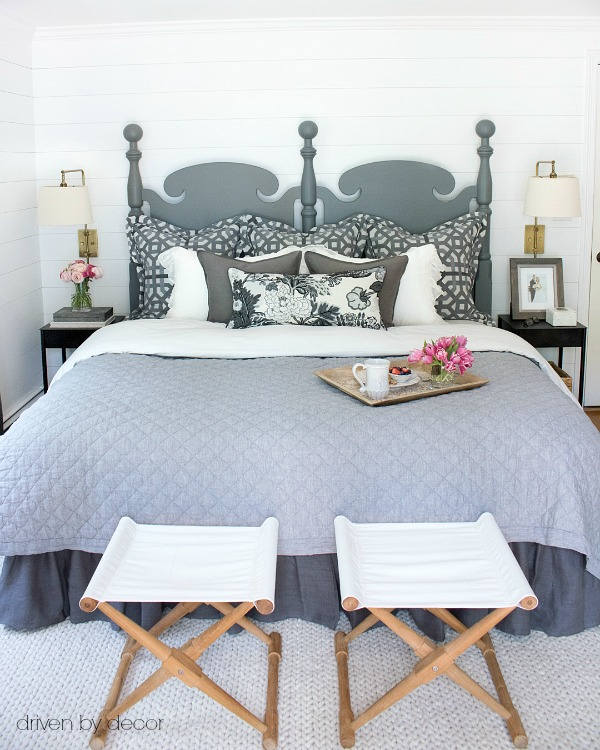 Master bedroom makeover with DIY shiplap walls - tips for shiplap DIY included in post!