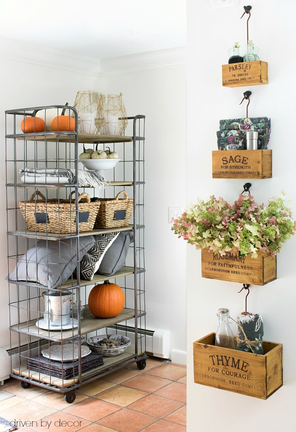 Nesting herb crates and bakers rack for storage and organization in the kitchen