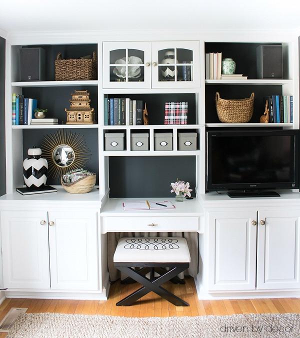 Our home office built-in bookshelves