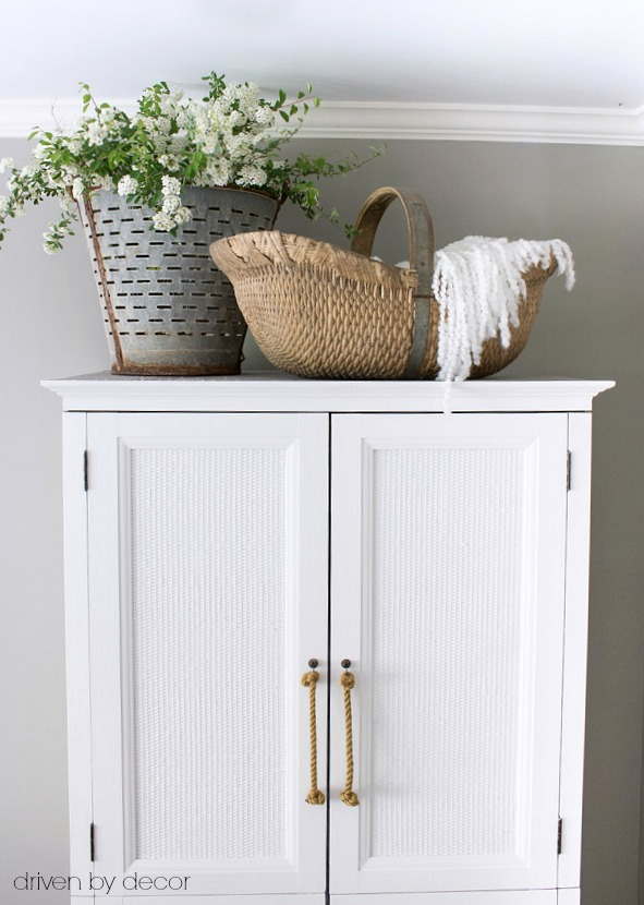TV armoire converted into clothes armoire for guest room