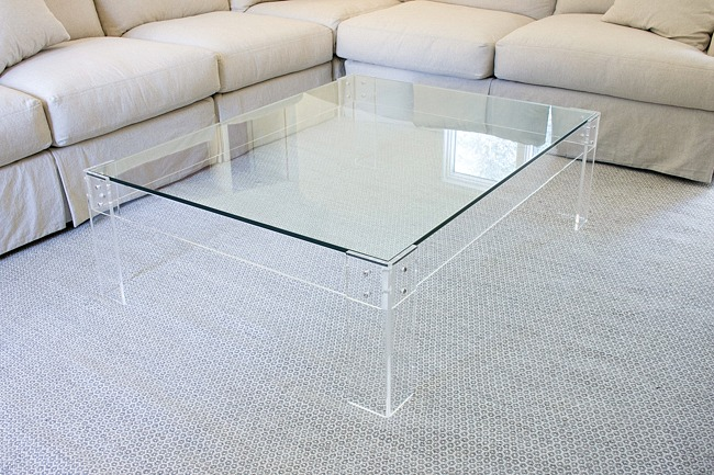 Acrylic coffee table with glass top