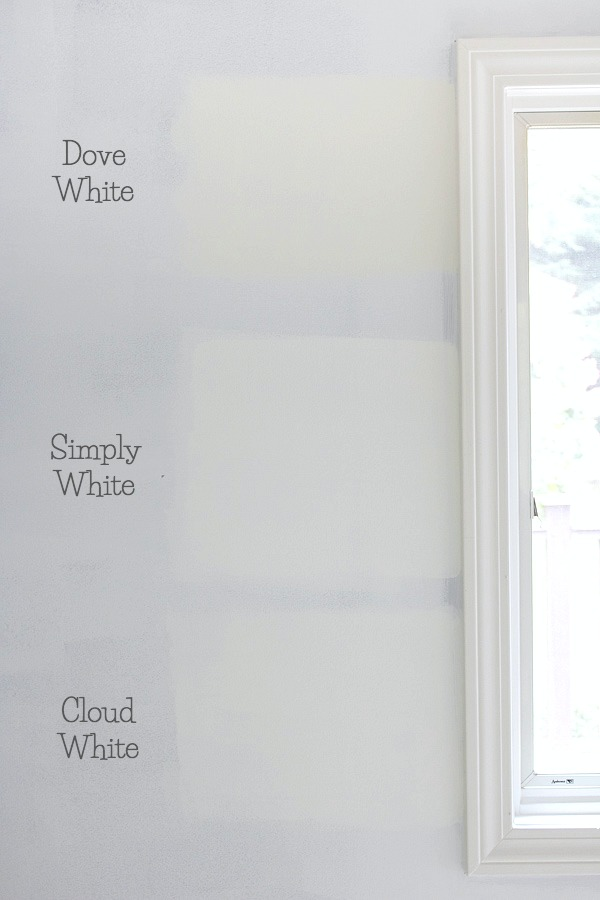 Benjamin Moore Dove White versus Simply White vs. Cloud White paint colors