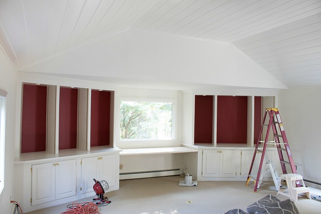 Family room painted white