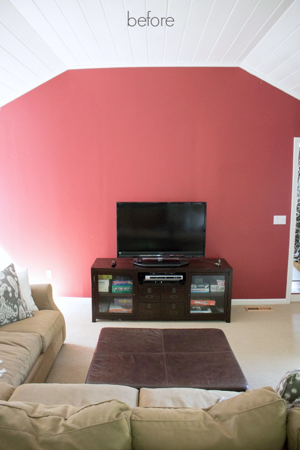 Our family room TV wall before the makeover