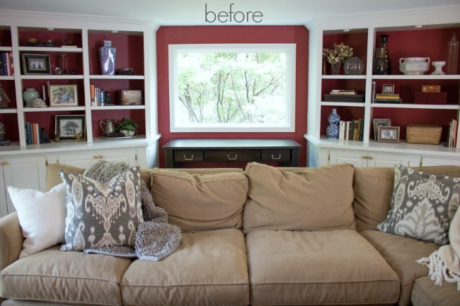 Our family room bookcases before their makeover