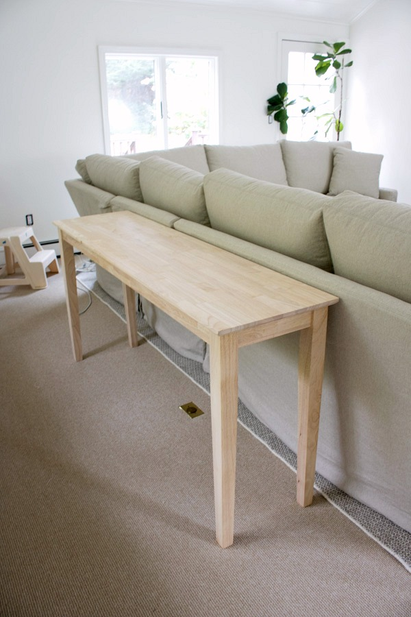 Unfinished wood sofa table - love that you can finish it any way you choose