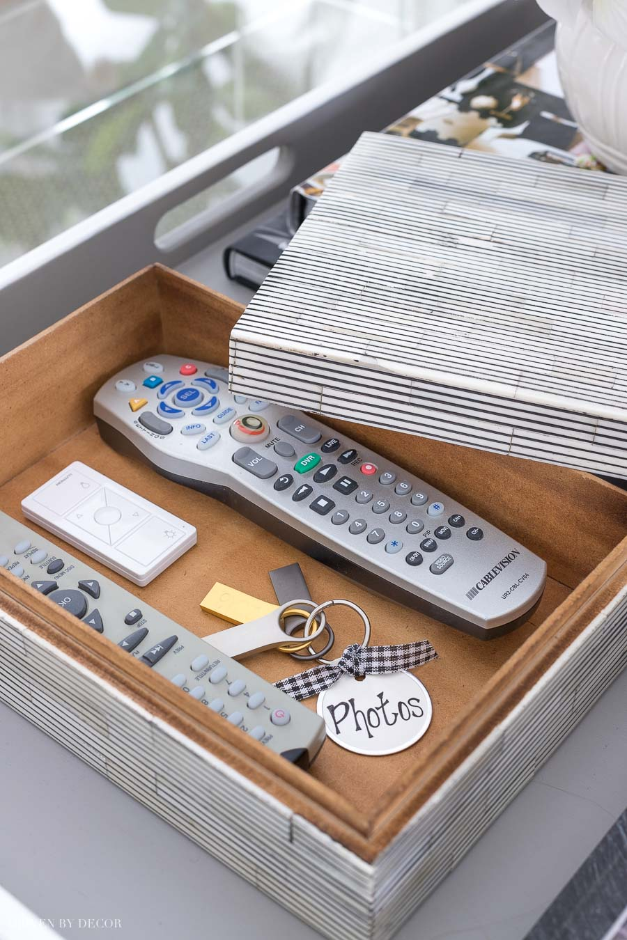 Beautiful bone box for storing remotes on the coffee table!