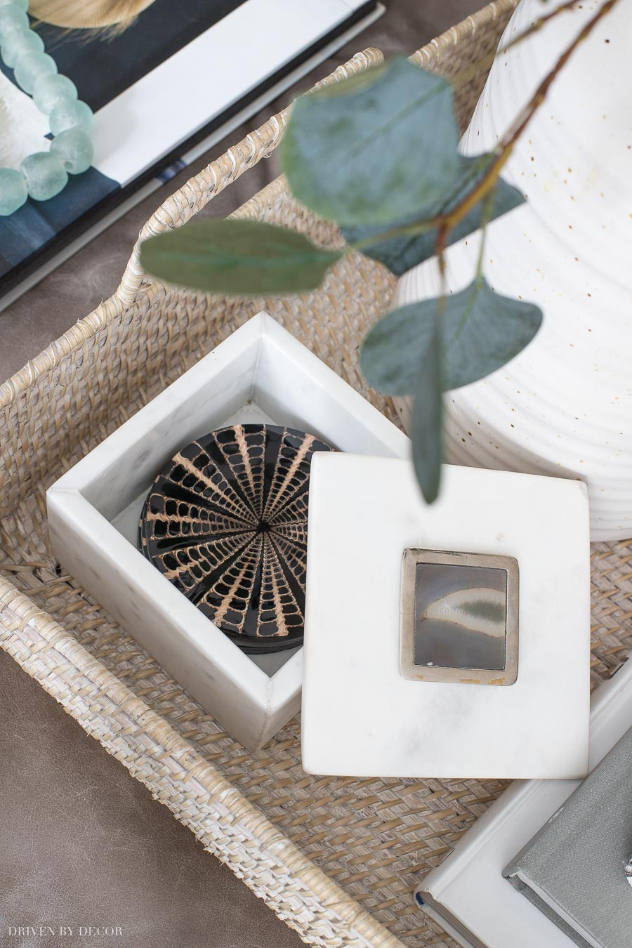 Gorgeous decorative box holding coasters on the coffee table - gret idea that's part of this coffee table styling post!