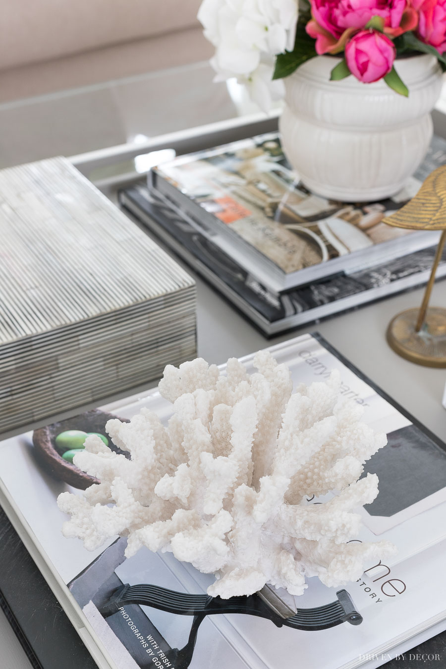 Lots of ideas for great coffee table decor in this post, including adding natural elements like coral!