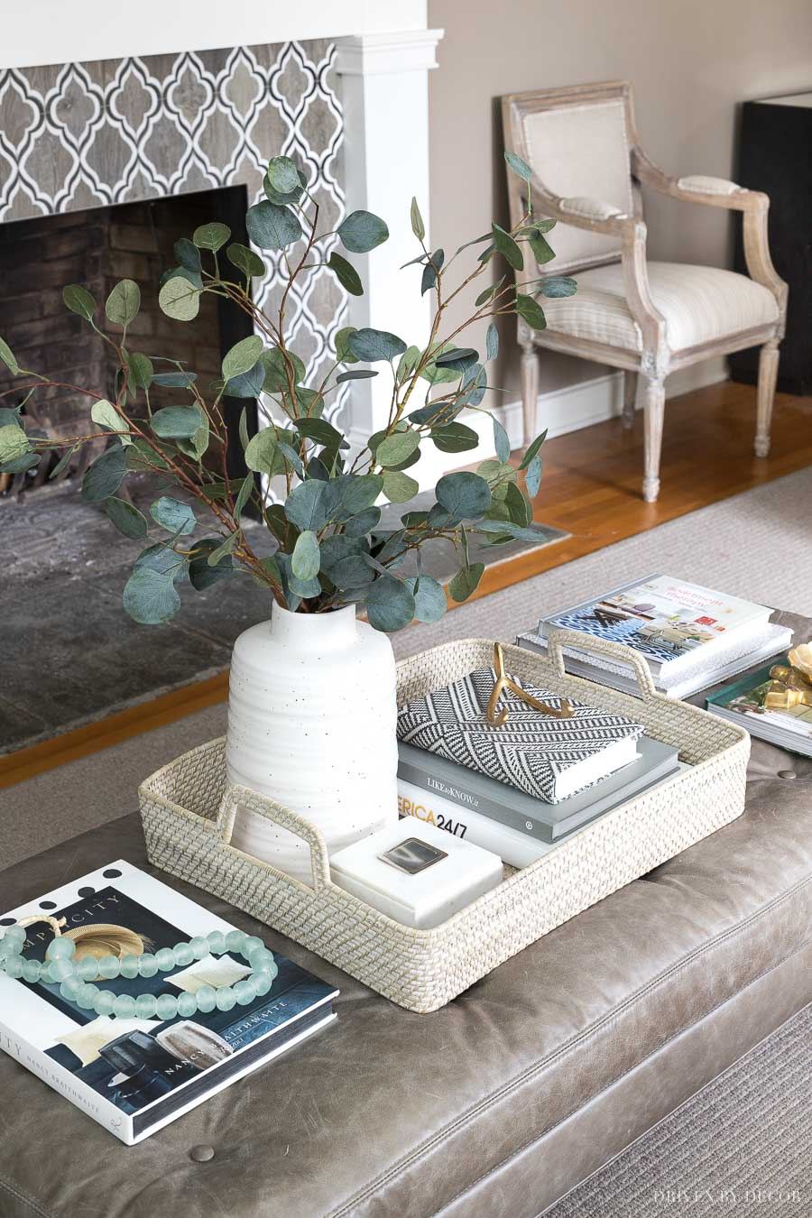 Simple Coffee Table Decor I Love Tray Faux Eucalyptus And Other Accessories Are