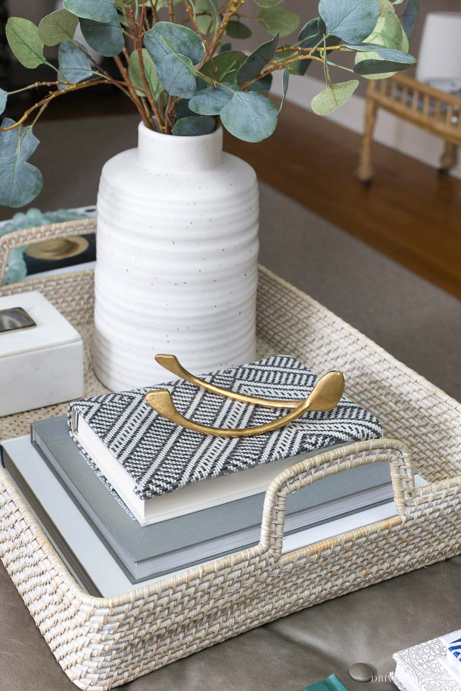 The perfect coffee table tray! Love this large whitewash rattan serving tray!