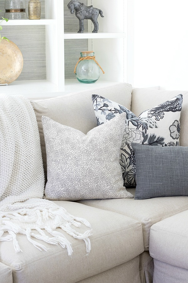 A trio of pillows for the sectional corner
