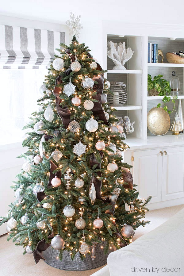 Balsam Hill Christmas tree decorated with silver velvet ribbon and glass, silver, and blush ornaments