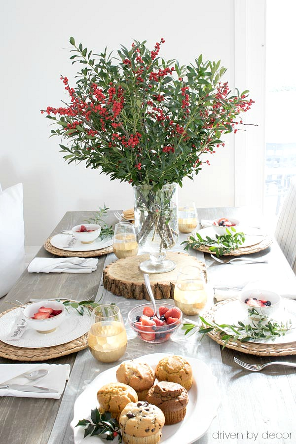 Boxwood branches mixed with ilex berries for a simple holiday centerpiece!
