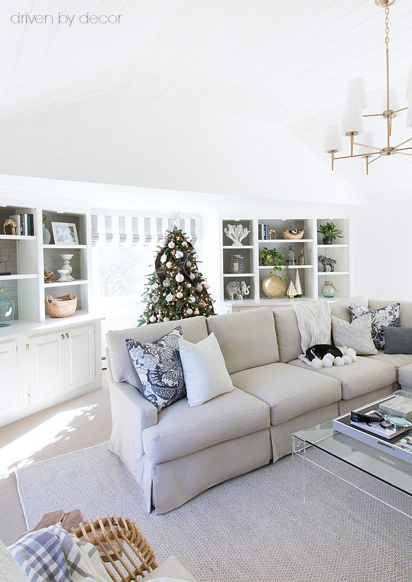 Family room decorated for Christmas in neutrals