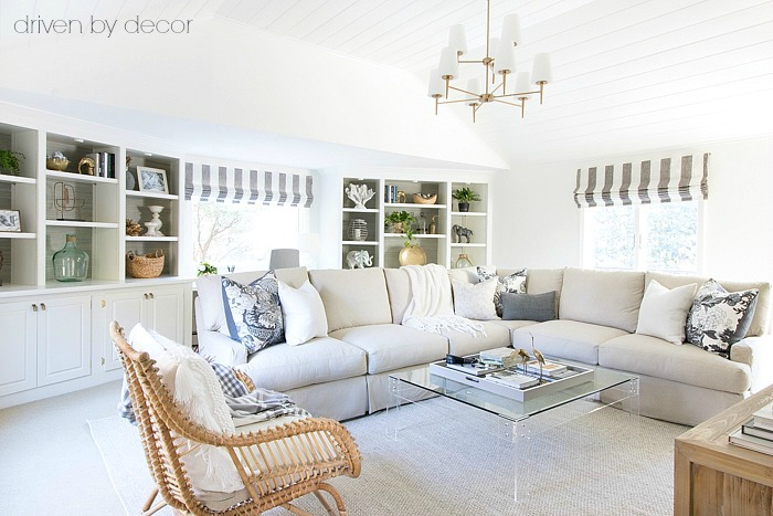Family room makeover! Loving all of the textured neutrals!