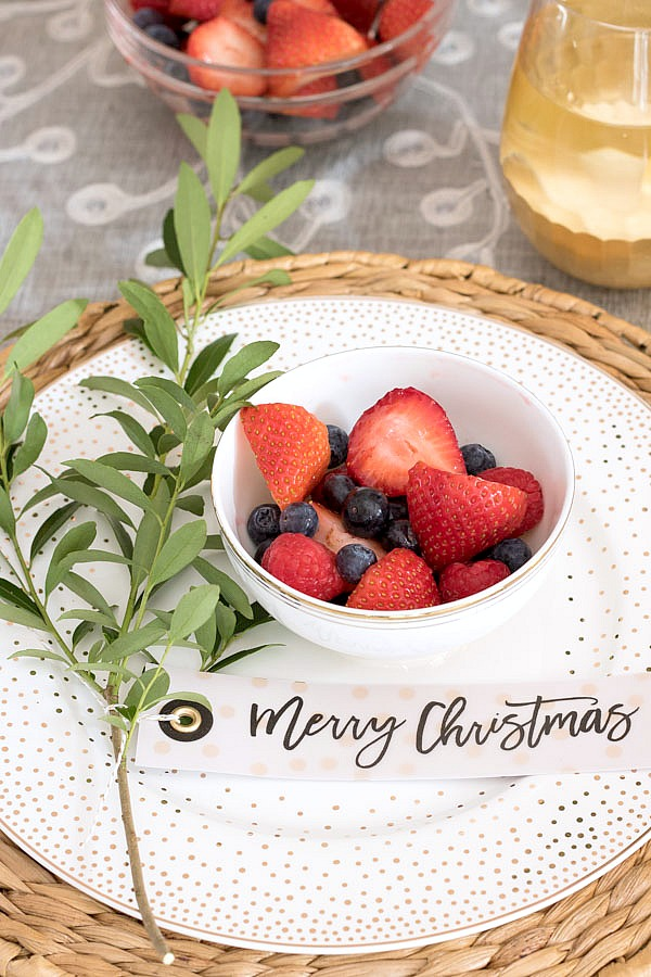 Merry Christmas gift tags used at each placesetting for a holiday table - such a cute & Simple Ideas for Decorating a Christmas Brunch Table | Driven by Decor