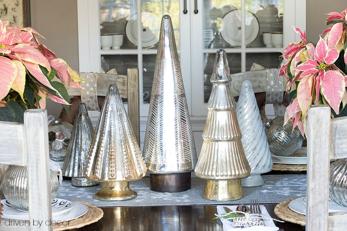Christmas home tour - dining room centerpiece of silver trees from HomeGoods