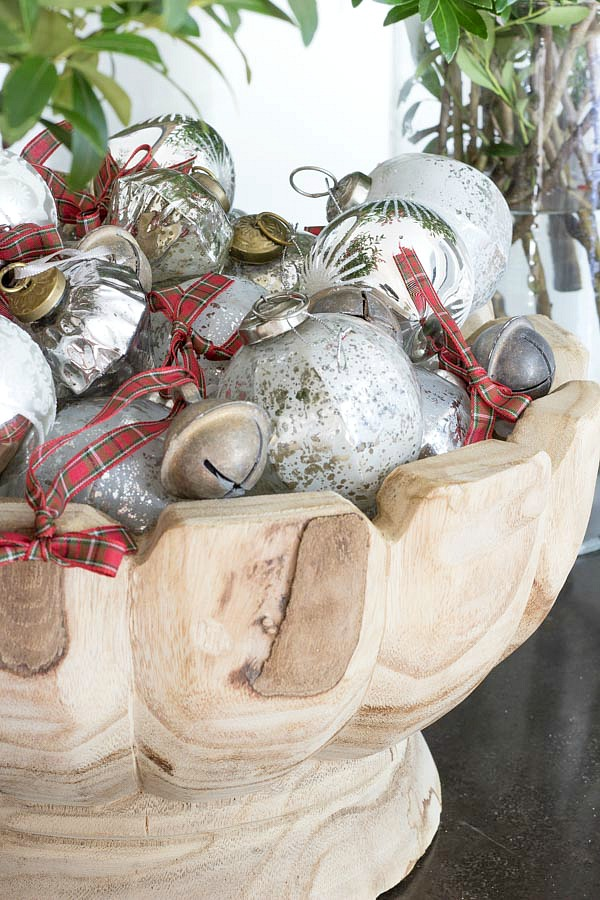 A bowl full of ornaments and jingle bells - simple Christmas decor