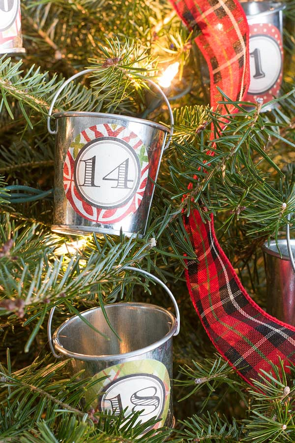 Our Christmas home tour - mini galvanized buckets hold advent calendar treats